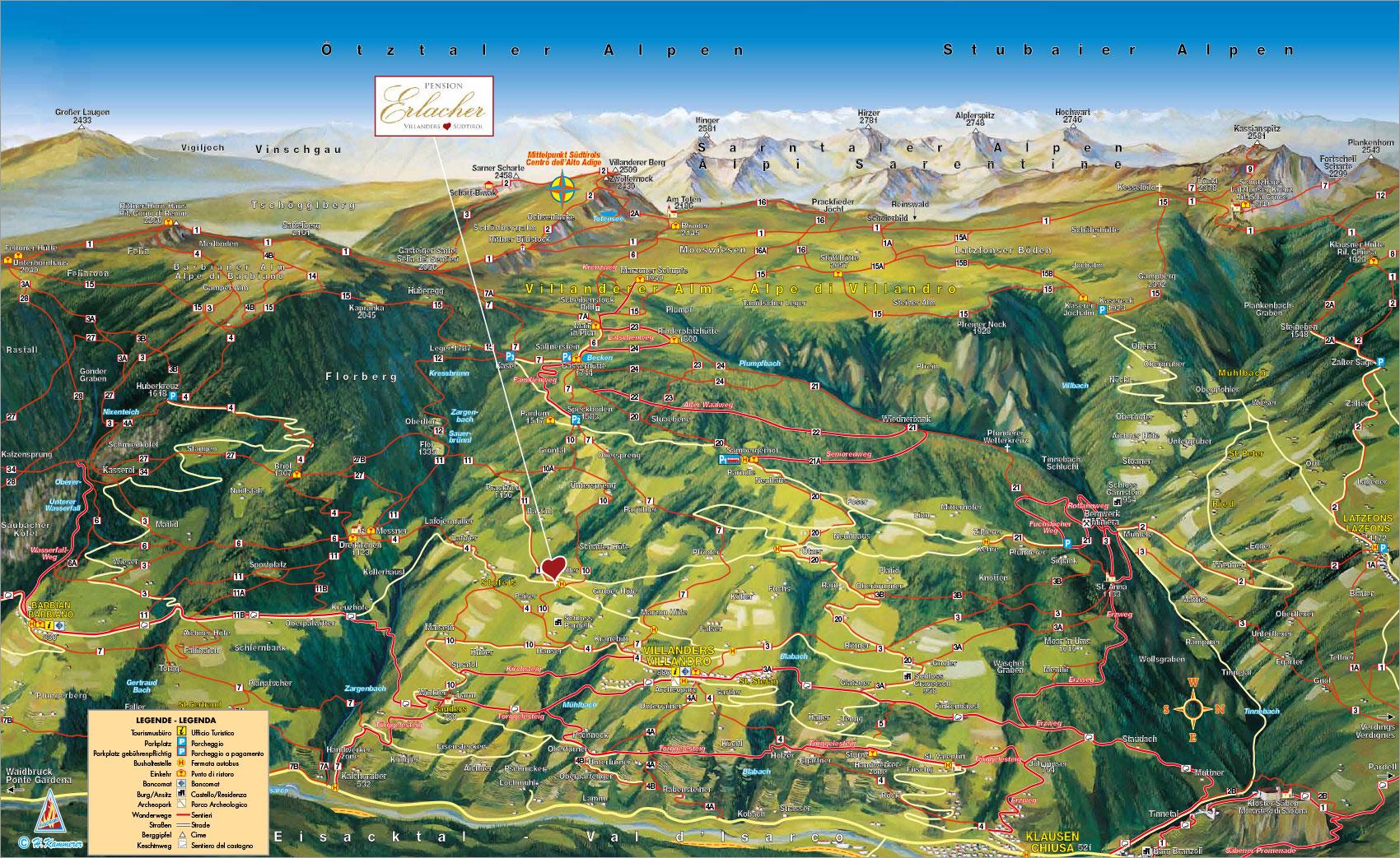 Wanderkarte Sommer Pension Im Eisacktal Urlaub In Sudtirol